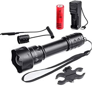 TUOFENG linterna port/átil 1 modo linterna de luz de caza nocturna de 500 yardas de larga distancia con interruptor de presi/ón remoto y kit de montaje en rango y montaje en barril